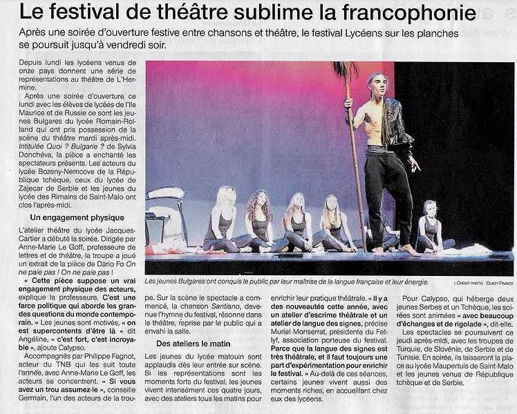 Lycéens sur les planches sublime la francophonie 0