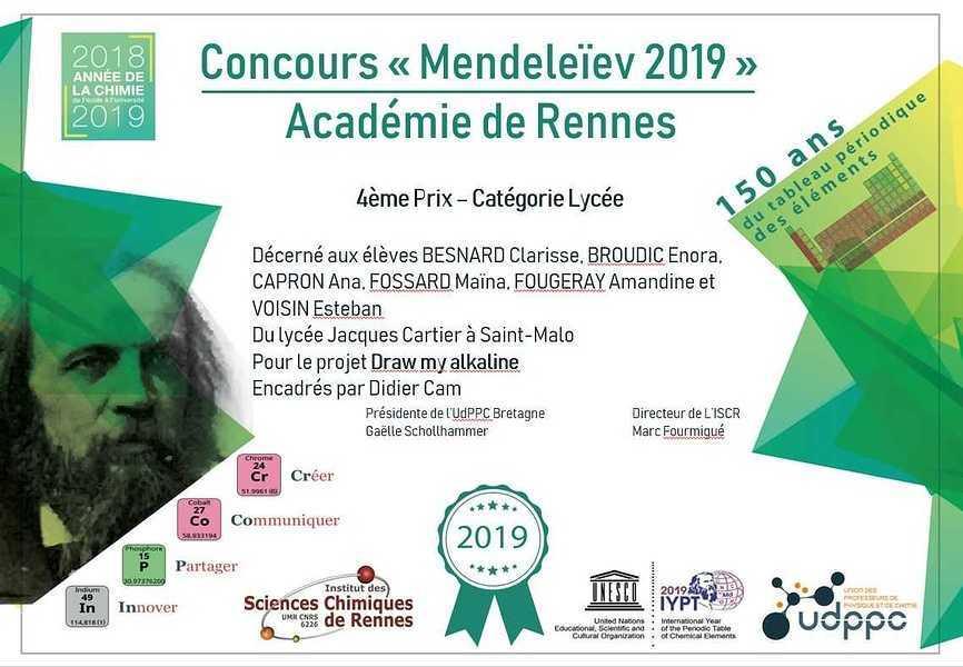 Concours Mendeleïev 2019 : un 4ème prix ! img201905072