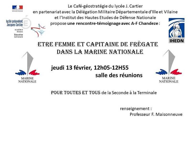 """Rencontre-témoignage : """"Être femme et capitaine de frégate dans la marine nationale"""" 0"""